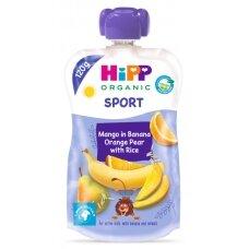 Ekologiška bananų, apelsinų, kriaušių ir mango tyrelė su ryžiais