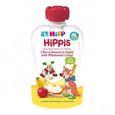 Ekologiška obuolių, vyšnių, bananų tyrelė su grūdais