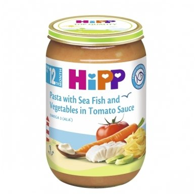 Jūros žuvis su daržovėmis ir makaronais pomidorų padaže